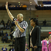 Towson Tigers Women's Head Coach Niki Reid Geckeler calls a timeout in the second half of a NCAA regular season Colonial Athletic Association conference game between Delaware and The Towson Tigers Sunday, Feb 16, 2014 at The Bob Carpenter Sports Convocation Center in Newark Delaware.