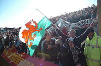 Photo: Tony Oudot/Richard Lane Photography. <br /> Gilingham Town v Swansea City. Coca-Cola League One. 12/04/2008. <br /> Swansea fans celebrate their promotion to the Championship