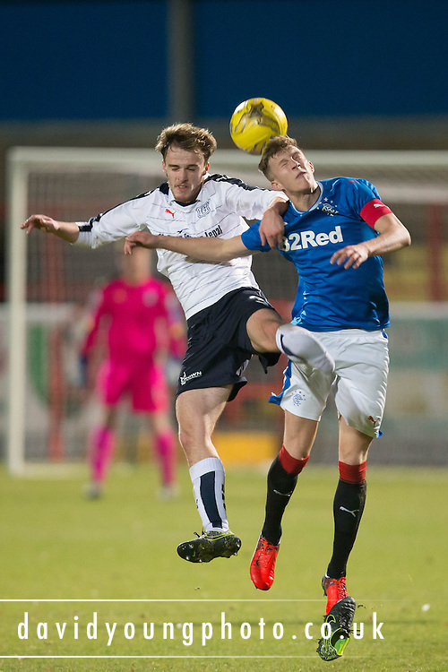 Conor Quigley battles in the air - Rangers v Dundee in the SPFL Development League at Forthbank, Stirling. Photo: David Young<br /> <br />  - © David Young - www.davidyoungphoto.co.uk - email: davidyoungphoto@gmail.com
