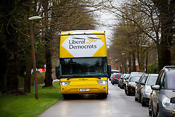 © Licensed to London News Pictures. 29/03/2015. Abingdon, UK. Liberal Democrat campaign bus at party's general election campaign launch outside Albert Park in Abingdon on Sunday, 29 March 2015. Photo credit : Tolga Akmen/LNP