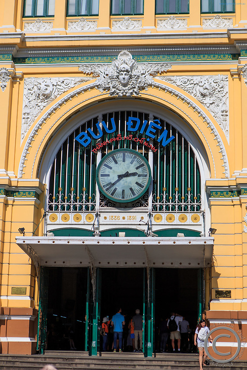 The facade of the Central Post Office of Ho Chi Minh City, Vietnam