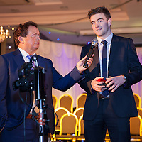 Tony Kelly (Capt) from Ballyea being interviewed by Marty Morrisey during the Clare U21 Hurling Final Winners Medal presentation in West county Hotel on Saturday 06 Dec