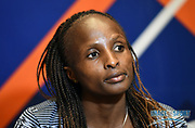 Hellen Obiri (KEN) during a news conference at the Intercontinental Doha Hotel-The City, Thursday, May 2, 2019, in Doha, Qatar prior to the 2019 IAAF Diamond League Doha meeting. (Jiro Mochizuki/Image of Sport)