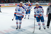 PENTICTON, CANADA - SEPTEMBER 9:  The Edmonton Oilers takes a shot against the Winnipeg Jets on September 9, 2017 at the South Okanagan Event Centre in Penticton, British Columbia, Canada.  (Photo by Marissa Baecker/Shoot the Breeze)  *** Local Caption ***