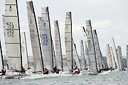 The start of race one of the A Class World championships regatta being sailed at Takapuna in Auckland. 11/2/2014