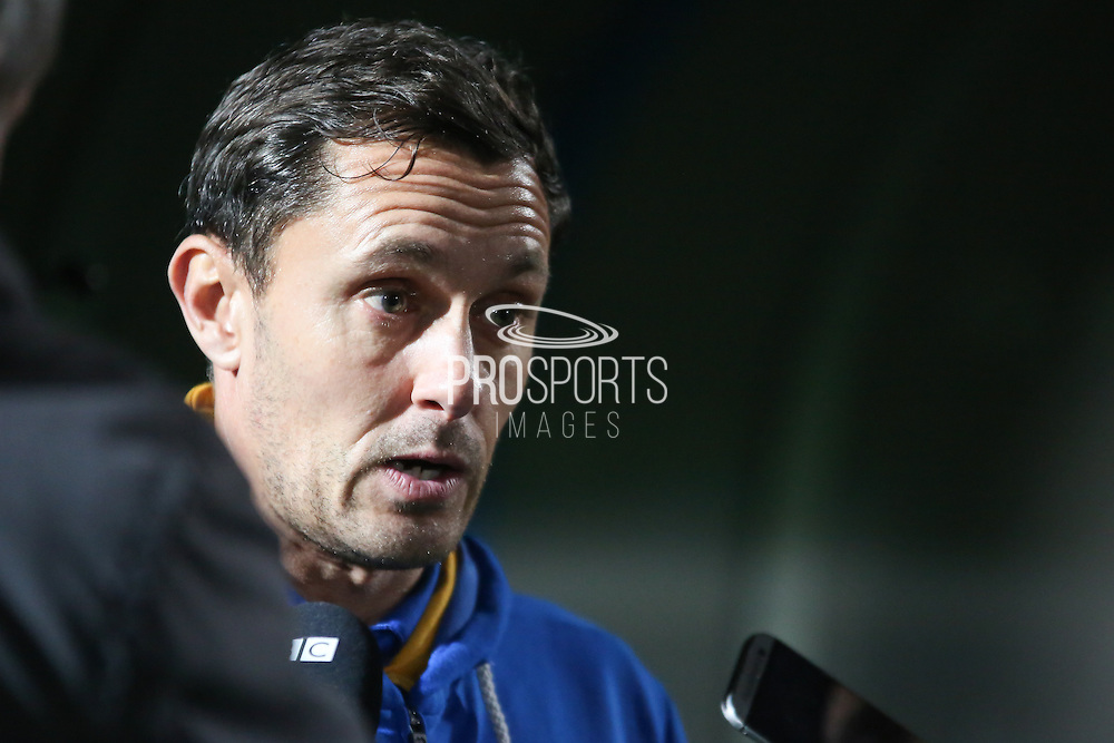 Shrewsbury Town FC manager Paul Hurst faces the media following his sides 2-1 defeat in during the EFL Sky Bet League 1 match between Rochdale and Shrewsbury Town at Spotland, Rochdale, England on 30 December 2016. Photo by Simon Brady.