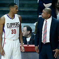 20 December 2016: LA Clippers forward Wesley Johnson (33) listens to LA Clippers head coach Doc Rivers during the LA Clippers 119-102 victory over the Denver Nuggets, at the Staples Center, Los Angeles, California, USA.