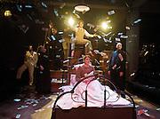 Stephen Sondheim's <br /> Road Show<br /> at the Menier Chocolate Factory, London, Great Britain <br /> press photocall <br /> 5th July 2011 <br /> <br /> European Premier<br /> <br /> David Bedella (as Wilson Mizner)<br /> & Company <br /> <br /> Photograph by Elliott Franks