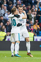 Real Madrid Gareth Bale and Luka Modric celebrating a goal during La Liga match between Real Madrid and R. C. Deportivo at Santiago Bernabeu Stadium in Madrid, Spain. January 18, 2018. (ALTERPHOTOS/Borja B.Hojas)