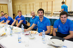 Matej Gaber, Vid Kavticnik, David Spiler and Matevz Skok at lunch at training camp of Slovenian Handball National team before World Cup 2013 in Spain, on December 28, 2012 in Hotel Dobrava, Zrece, Slovenia. (Photo By Vid Ponikvar / Sportida.com)