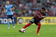 SYDNEY, AUSTRALIA - APRIL 13: Western Sydney Wanderers midfielder Rashid Mahazi (22) controls the ball at round 25 of the Hyundai A-League Soccer between Western Sydney Wanderers and Sydney FC  on April 13, 2019 at ANZ Stadium in Sydney, Australia. (Photo by Speed Media/Icon Sportswire)