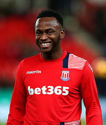 Caption Correction: Saido Berahino of Stoke City smiles during the warm up - Mandatory by-line: Matt McNulty/JMP - 01/02/2017 - FOOTBALL - Bet365 Stadium - Stoke-on-Trent, England - Stoke City v Everton - Premier League