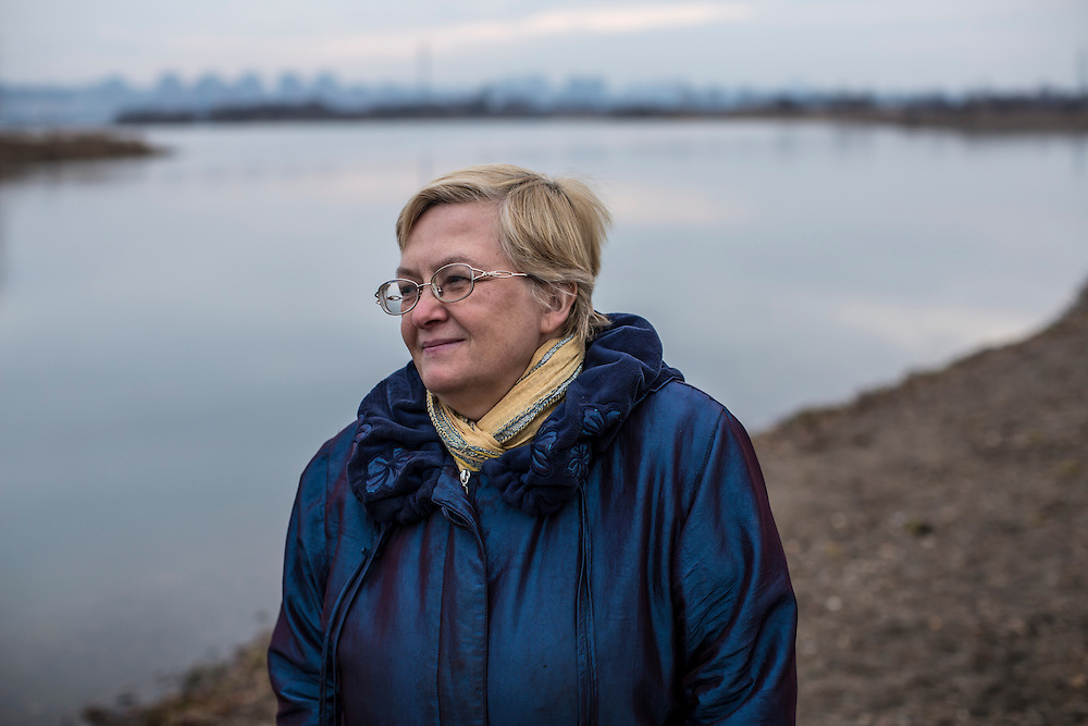 Marina Rikhvanova of Baikal Environmental Wave, an organization that has been lobbying for the closure of the Baikalsk Pulp and Paper Mill for decades, poses for a portrait on Tuesday, October 29, 2013 in Irkutsk, Russia.