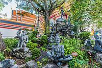 garden statues Wat Pho temple Bangkok Thailand