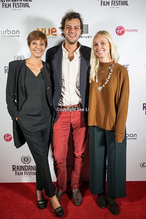 London, England, UK. 28th September 2017.Actress Bettina Giovannini,Producer Lorenzo Fiuzzi and Director Ursula Grisham of Noble Earth attend Raindance Film Festival Screening at Vue Leicester Square, London, UK.