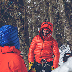 Jeff Mercier and Pierre Raymond gearing up at the base of Indiana Thivierge, WI6. The third repeat in 25 years, Les Palisades Charlevoix in Quebec, Canada