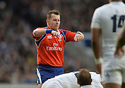 Twickenham, Great Britain, Referee, Nigal OWENS, signals a collasped  scrum, during Six Nations Rugby England vs France, played at the RFU Stadium, Twickenham, ENGLAND. <br /> <br /> Saturday   21/03/2015<br /> <br /> [Mandatory Credit; Peter Spurrier/Intersport-images]
