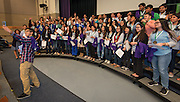 Students and staff pose for pictures with the national championship cup during the 2015-2016 Vocablary Bowl Trophy presentation at Chavez High School, May 9, 2016.