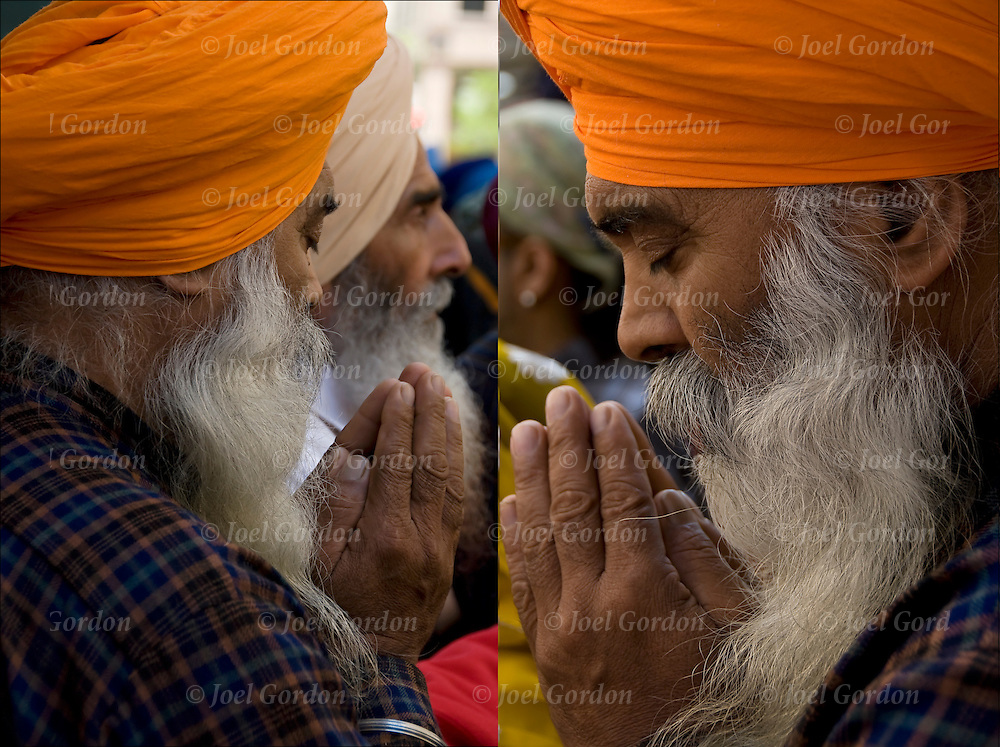 Before the start of the Sikh Day Parade in New York City, two views of Sikh praying and chanting the name of g-d or the wonderful g-d &quot;Wahe Guru&quot;.<br /> <br /> <br /> Sikh Praying - GOR-73547-10<br /> Sikh Praying - GOR-73551-10