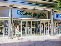 Signage, El Corte Ingles, department store, Puerto Banus, Malaga Province, Spain, October, 2016, 2016102953<br />