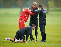 CARDIFF, WALES - Monday, October 13, 2008: Wales' goalkeepers Wayne Hennessey, Boaz Myhill and Lewis Price with coach Paul Jones during training at the Vale of Glamorgan Hotel ahead of the 2010 FIFA World Cup South Africa Qualifying Group 4 match against Germany. (Photo by David Rawcliffe/Propaganda)