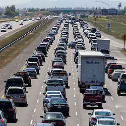 Cars Lined Up on Freway in Northern California