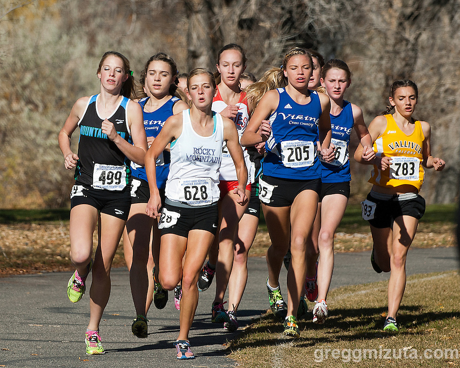 The 5A girls lead pack (L to R: Sam McKinnon, Kara Story, Sara Mussleman, Emily Hamlin, Emily Callahan, Caitlin Conway, Mikayla Malaspina) 1200 meters into the Idaho High School Cross Country State Championships on November 2, 2013 at Freeman Park in Idaho Falls, Idaho.<br />