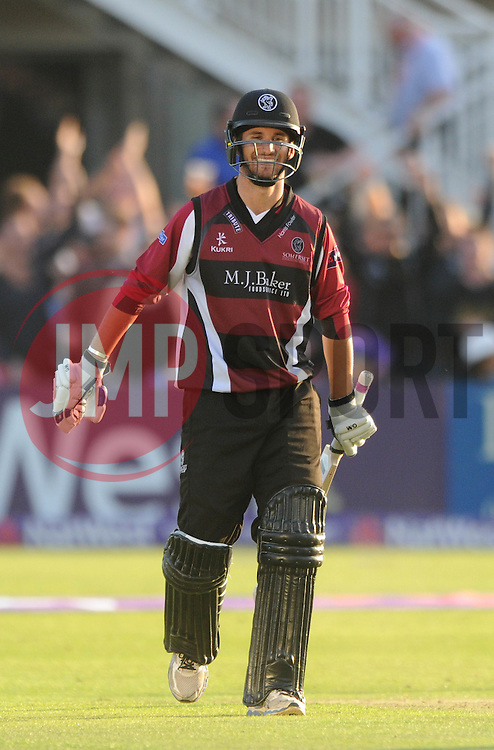 Lewis Gregory of Somerset smiles at the end of the game after beating Gloucestershire in the T20 game  - Photo mandatory by-line: Dougie Allward/JMP - Mobile: 07966 386802 - 19/06/2015 - SPORT - Cricket - Bristol - County Ground - Gloucestershire v Somerset - Natwest T20 Blast