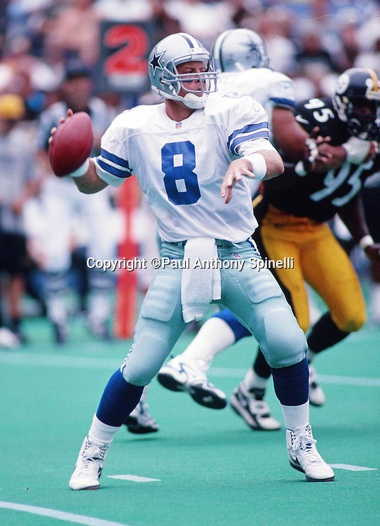 Dallas Cowboys quarterback Troy Aikman (8) throws a pass during the NFL football game against the Pittsburgh Steelers on Aug. 31, 1997 in Pittsburgh. The Cowboys won the game 37-7. (©Paul Anthony Spinelli)