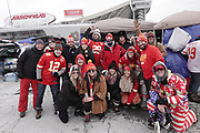 Jan 20, 2019; Kansas City, MO, USA; Kansas City Chiefs fans talegate and pose for a picture prior to the start of the AFC Championship game at Arrowhead Stadium. The Patriots defeated the Chiefs 37-31 in overtime to advance to their fifth Super Bowl in eight seasons. (Robin Alam/Image of Sport)