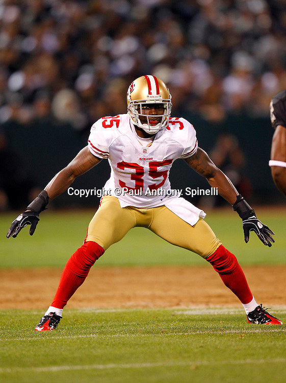 San Francisco 49ers cornerback Phillip Adams (35) makes a move on defense during the NFL preseason week 3 football game against the Oakland Raiders on Saturday, August 28, 2010 in Oakland, California. The 49ers won the game 28-24. (©Paul Anthony Spinelli)