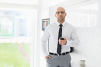Portrait of mid adult businessman holding smart phone at home