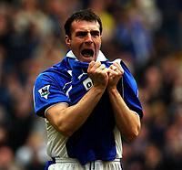 Fotball. Engelsk Premier League 2001/2002.<br /> Everton v Fulham 16.03.2002.<br /> David Unsworth, Everton, jubler for scoring.<br /> Foto: Roger Parker, Digitalsport.
