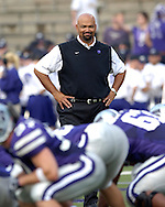 First year head coach Ron Prince looks over his offensive line during pre-game drills, before the Wildcats 45-0 win over Florida Athantic at Bill Snyder Family Stadium in Manhattan, Kansas, September 9, 2006.