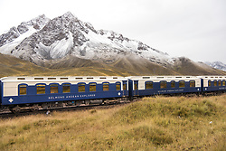 South America's first luxury sleeper train, the Belmond Andean Explorer, passes through La Raya, Peru, during its journey between Arequipa, Lake Titicaca and Cusco. The train cuts through some of the most breathtaking scenery in Peru and features 24 cabins, Peruvian cuisine by chef Diego Munoz, and and outdoor observation car. Picture date: Tuesday May 1st, 2017. Photo credit should read: Matt Crossick/Empics