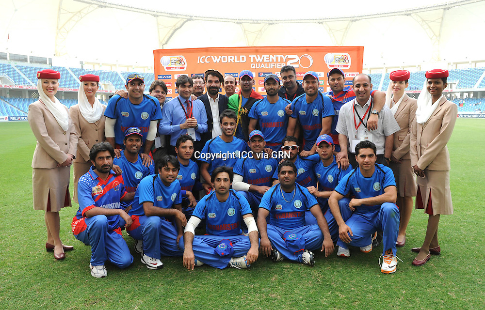 ICC World Twenty20 Qualifier UAE 2012.Afghanistan beat Namibia by 47 runs to qualify automatically for Saturday's fins .Pic shows the victorious Afghanistan team..