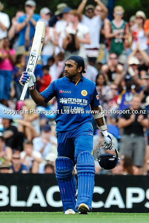 Mahela Jayawardene of Sri Lanka celebrates his hundred in the first ODI, Black Caps v Sri Lanka, at Hagley Oval, Christchurch, 11 January 2015. Photo:John Davidson/www.photosport.co.nz