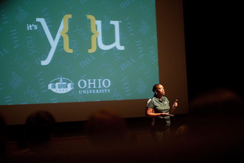 "University Communications & Marketing unveil the ""It's You"" commercial in Athens, Ohio on Wednesday, September 4, 2013. Photo by Chris Franz"