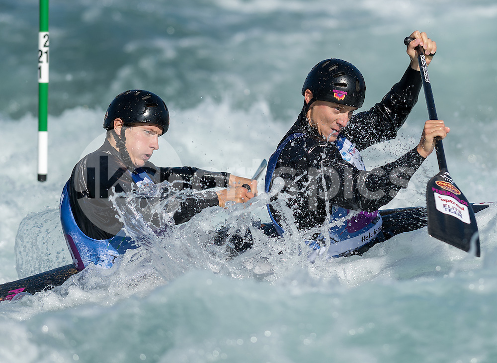 Jonas Kaspar and Marek Sindler of Czech Republic compete in the C2 during the ICF Canoe Slalom World Championship 2015 at Lee Valley White Water Centre, London, United Kingdom on 19 September 2015. Photo by Vince  Mignott.