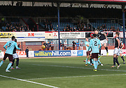 30th September 2017, Dens Park, Dundee, Scotland; Scottish Premier League football, Dundee versus Hearts; Dundee's Kerr Waddell heads home for 1-0