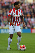 Stoke City's Glen Johnson eyes a pass during the Barclays Premier League match between Stoke City and Leicester City at the Britannia Stadium, Stoke-on-Trent, England on 19 September 2015. Photo by Aaron Lupton.