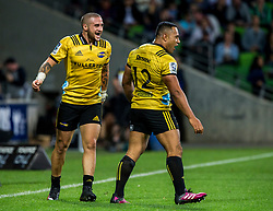 March 30, 2018 - Melbourne, VIC, U.S. - MELBOURNE, AUSTRALIA - MARCH 30 : Ngani Laumape of the Wellington Hurricanes  celebrates after his try with Gareth Evans of the Wellington Hurricanes  during Round 7 of the Super Rugby Series between the Melbourne Rebels and the Wellington Hurricanes on March 30, 2018, at AAMI Park in Melbourne, Australia. (Photo by Jason Heidrich/Icon Sportswire) (Credit Image: © Jason Heidrich/Icon SMI via ZUMA Press)
