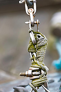 Rope with moss tangled around steel