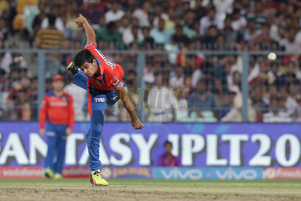 Shivil Kaushik of Gujarat Lions Bowls during match 38 of the Vivo Indian Premier League ( IPL ) 2016 between the Kolkata Knight Riders and the Gujarat lions held at the Eden Gardens Stadium in Kolkata on the 8th May 2016<br /> <br /> Photo by Rahul Gulati / IPL/ SPORTZPICS