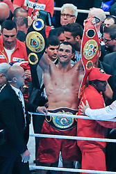 02.07.2011, Imtech Arena, Hamburg, GER, WM Fight IBF, IBO and WBO world champion Wladimir Klitschko vs WBA champion David Haye, im Bild Sieger Wladimir Klitschko jubelt mit seinen fuenf Guerteln// during the WM fight between Wladimir Klitschko and David Haye, in the Imtech Arena, Hamburg, 2011/07/02. .EXPA Pictures © 2011, PhotoCredit: EXPA/ nph/  Witke       ****** out of GER / CRO  / BEL ******