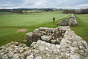 view of the Hadrian's wall near Brampton. rest of the Birdoswald Roman Fort.