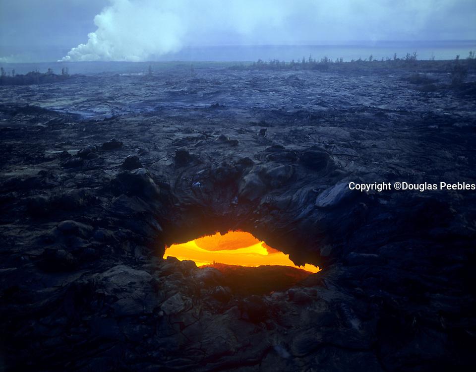Skylight view of lava flow, Kilauea Volcano, IHVNP, Island of Hawaii