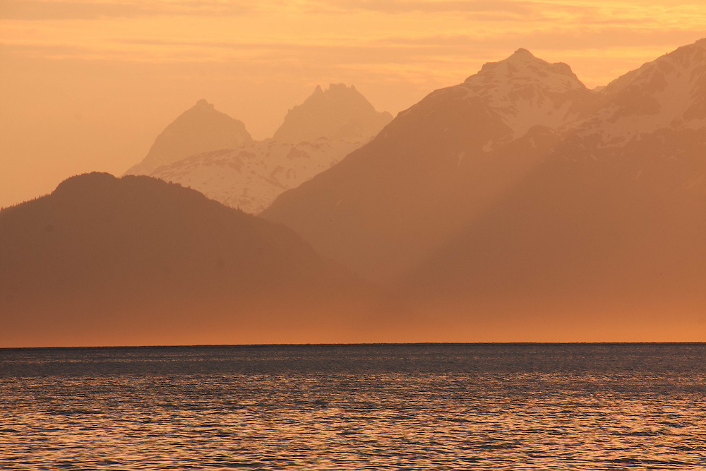Sunset over Lynn Canal, near Echo Cove in Juneau, AK
