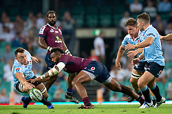 March 9, 2019 - Sydney, NSW, U.S. - SYDNEY, NSW - MARCH 09: Waratahs player Jack Dempsey (8) goes after a dropped ball from Reds player Samu Kerevi (13) at round 4 of Super Rugby between NSW Waratahs and Queensland Reds on March 09, 2019 at The Sydney Cricket Ground, NSW. (Photo by Speed Media/Icon Sportswire) (Credit Image: © Speed Media/Icon SMI via ZUMA Press)