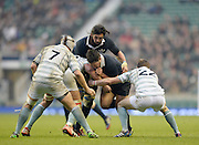 Twickenham. UK.   Oxford's,  John CARTER, driving with Nick GARDENER, during the  the 2013 Varsity Rugby Match,  Final score Oxford, defeating Cambridge,  33 - 15 on    Thursday  12/12/2013, at the RFU Stadium.  Surrey, England  [Mandatory Credit. Peter Spurrier/Intersport Images]